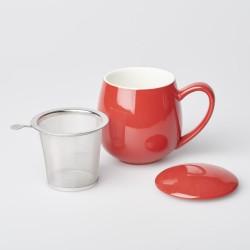 Teetasse Rot mit Siebeinsatz und Deckel