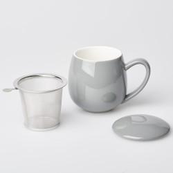 Teetasse Grau mit Siebeinsatz und Deckel