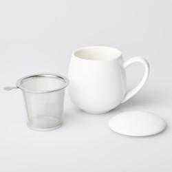 Teetasse Weiss mit Siebeinsatz und Deckel